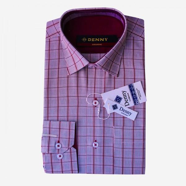 Denny Cotton Grey Checkered Formal Shirt For Men