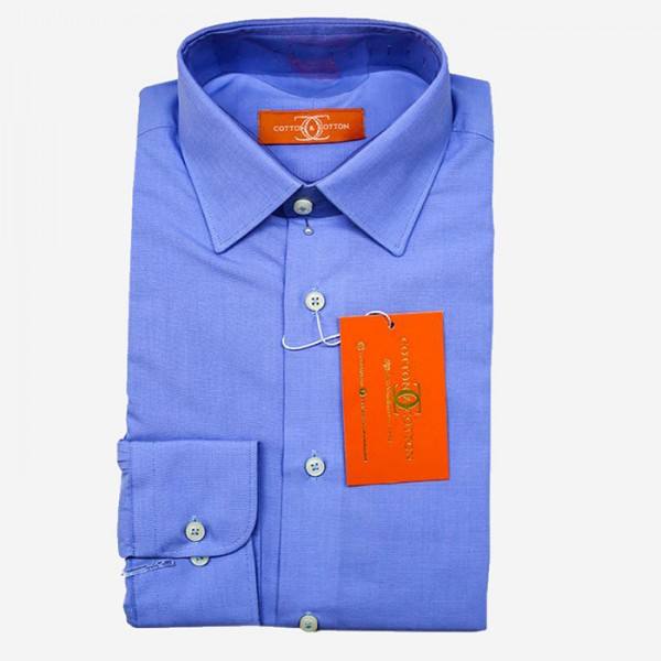 Cotton and Cotton Formal Dress Shirt For Men in Blue Color