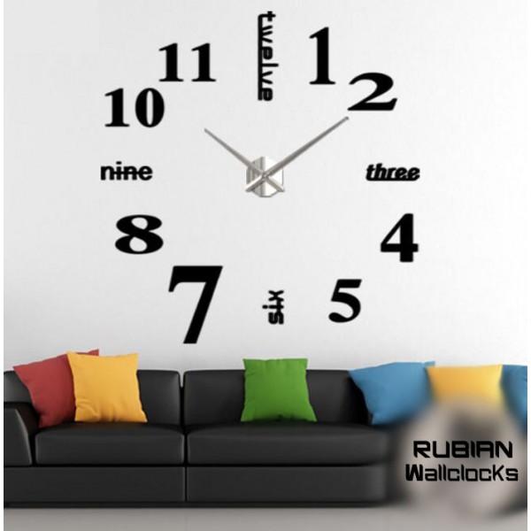 RUBIAN Acrylic Numbers Wallclock - Black