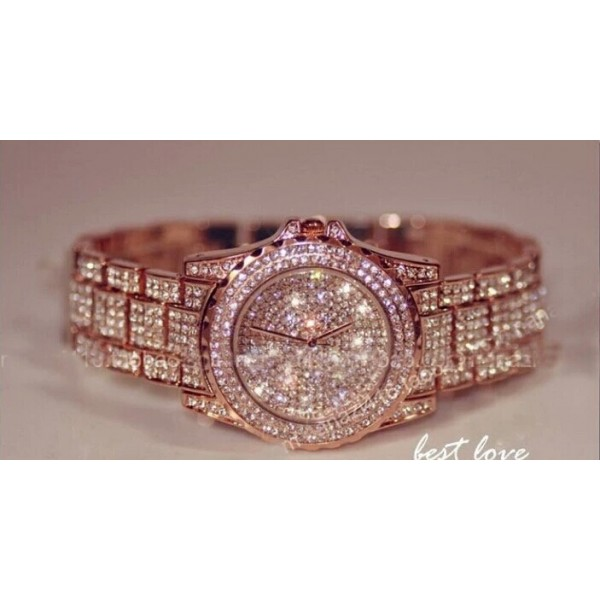 Crystal rose gold watch for Her High quality Imported Watch
