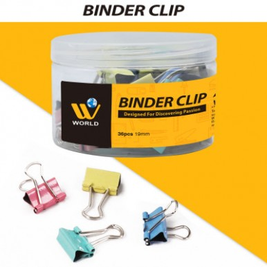 W World Mix-Color Binder Clips For Office Supplies-19mm