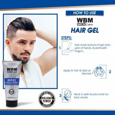 WBM Men Care Hair Gel - Strong  Hold Refreshing and Hydrating - 150 G