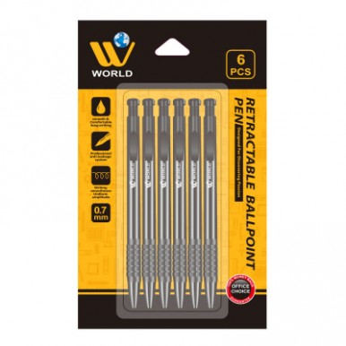 W World Retractable  Smooth and Comfortable writing Ball Point - (6 Pcs)