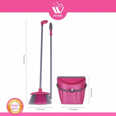 WBM Home High Quality Broom Brush and Dust Pan Set