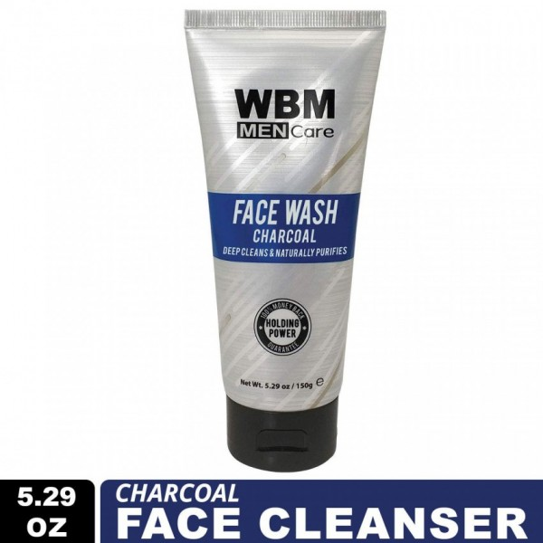 WBM Men Care Charcoal Facial Cleanser, Deep Cleansing and Naturally Purifies Skin - 150g