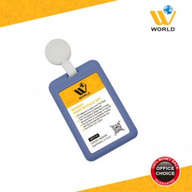 W World High Quality Card Badge in Purple Color