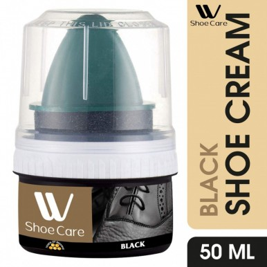W-Shoe Care Long-Lasting Shine Shoe Polish Cream Black-50ml