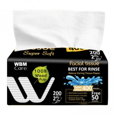 WBM Care Super Soft 2 Ply Facial Tissue - Medium sized Recyclable Tissues