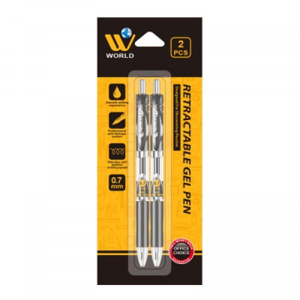 W World Retractable Smooth writing Gel Pen (2 Pcs)