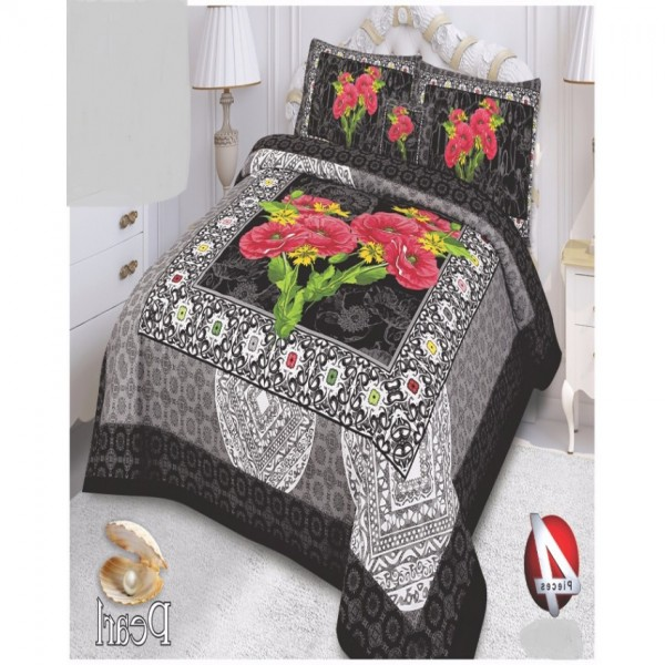 Multicolor Cotton King Size Bed Sheet With 2 Pillows Covers and Cushion - KH01