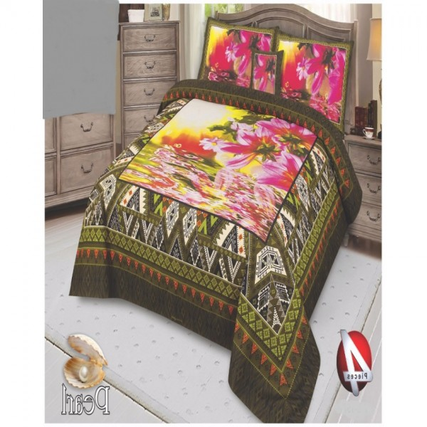 Multicolor Cotton King Size Bed Sheet With 2 Pillows Covers and Cushion - KH15