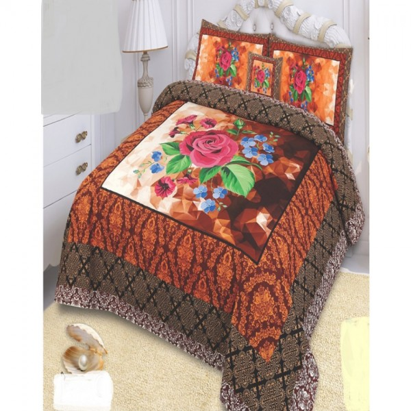 Multicolor Cotton King Size Bed Sheet With 2 Pillows Covers and Cushion - KH16