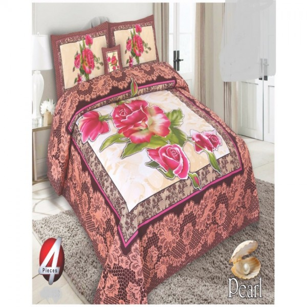 Multicolor Cotton King Size Bed Sheet With 2 Pillows Covers Cushion - KH13