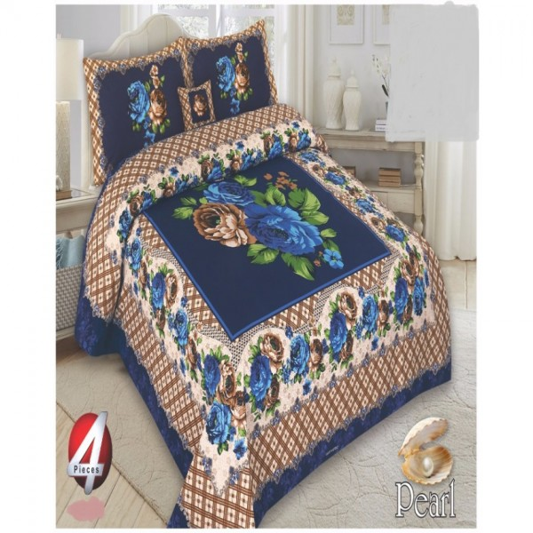 Multicolor Cotton King Size Bed Sheet With 2 Pillows Covers and Cushion - KH12