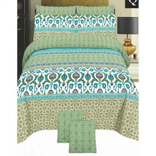 Multicolor Cotton King Size Bedsheet Set - 3pcs - - KH17