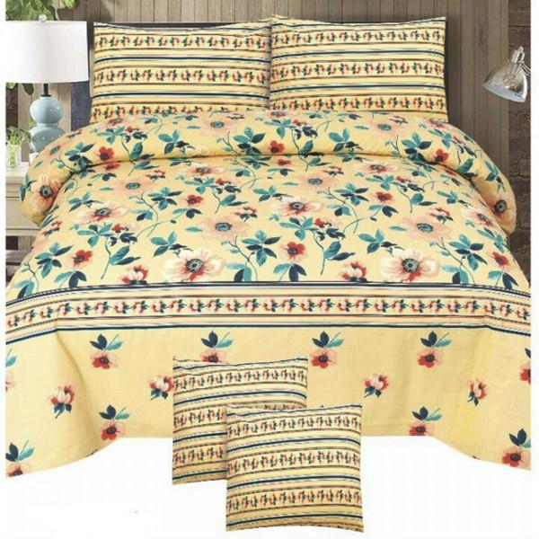 Multicolor Cotton King Size Bedsheet Set - 3pcs