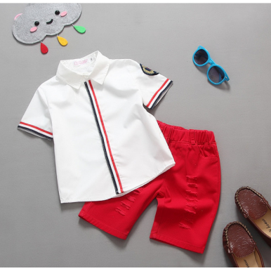 Baby boy dress White Half Sleeves Shirt with Red Shorts