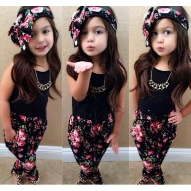 Black Floral Trouser Top for Girls with Head Band