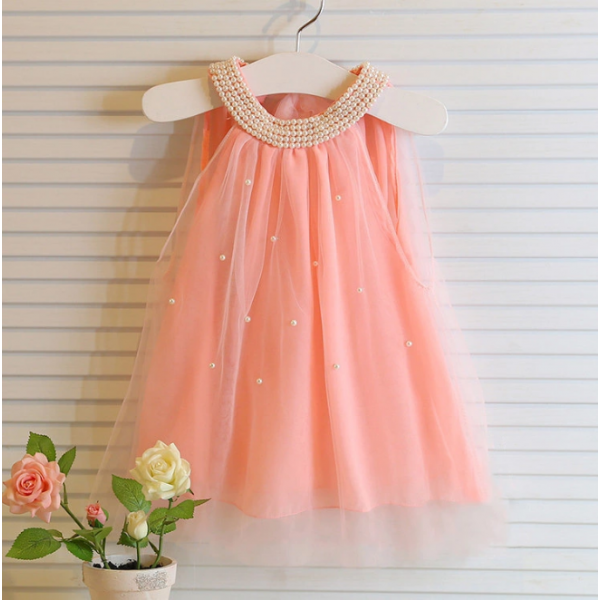 Fancy White and Peach Girls Party Dress Lace Girl Dress
