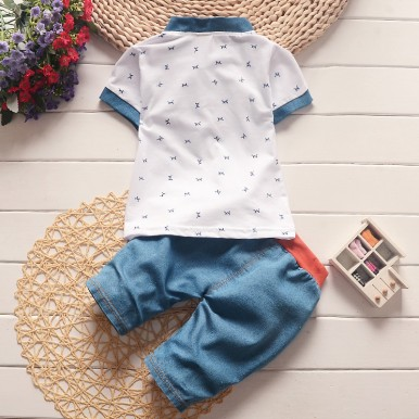 Stylish tshirt and denim shorts boy dress available for 9 month-4years