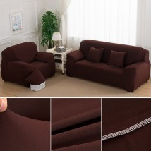 5 seater Fitted Sofa Cover Standard Size in Dark Brown Color