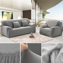 5 seater Fitted Sofa Cover (Standard Size) (Grey)