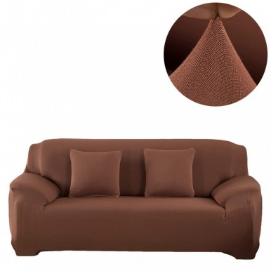 7 seater Fitted Sofa Cover Standard Size-Chocolate Brown