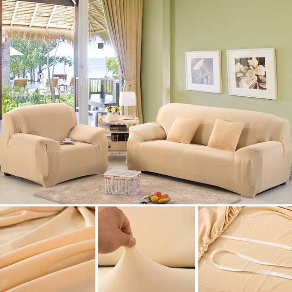5 seater Fitted Sofa Cover (Standard Size) (Camel)