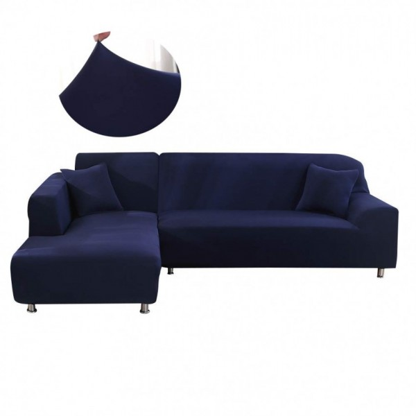 L-shape Fitted Sofa Cover 3-3 (Standard Size in blue Color)