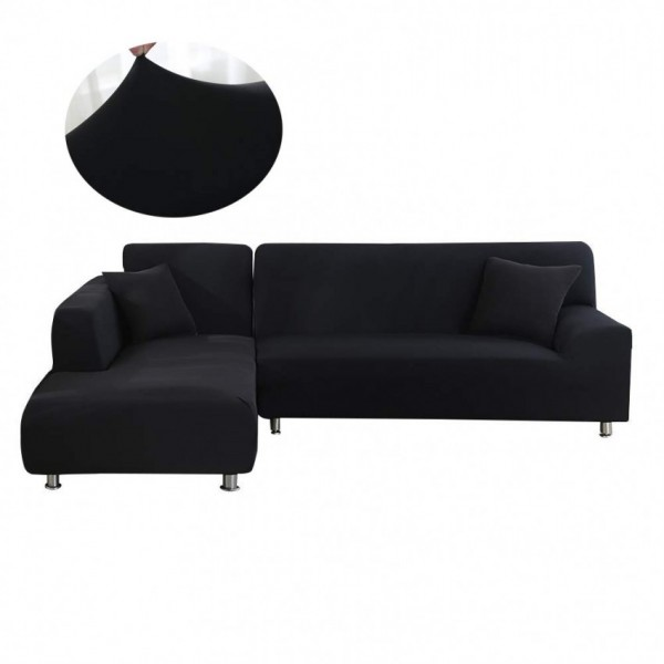 L-shape Fitted Sofa Cover (Standard Size in Black Color)