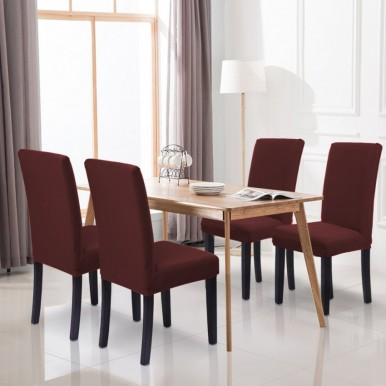 Pack of 6-Dining Chair Fitted Covers- Dark Chocolate Brown