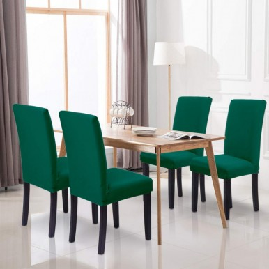 Pack of 6-Dining Chair Fitted Covers- Dark Green