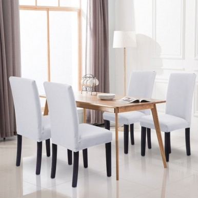 Pack of 6-Dining Chair Fitted Covers- White