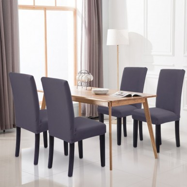 Pack of 6-Dining Chair Fitted Covers- Grey