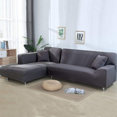 2 Pieces L Shape Sofa Covers for 3+3 - Grey