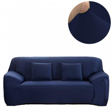 5 seater Fitted Sofa Cover(Standard Size) (Navy Blue)