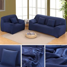 7 seater Fitted Sofa Cover (Standard Size in Navy Blue Color)