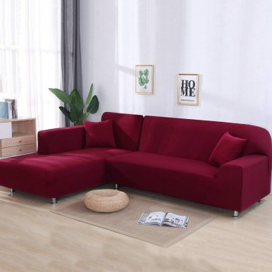 L-shape 3+3 seater Fitted Sofa Cover-Standard Size-Red