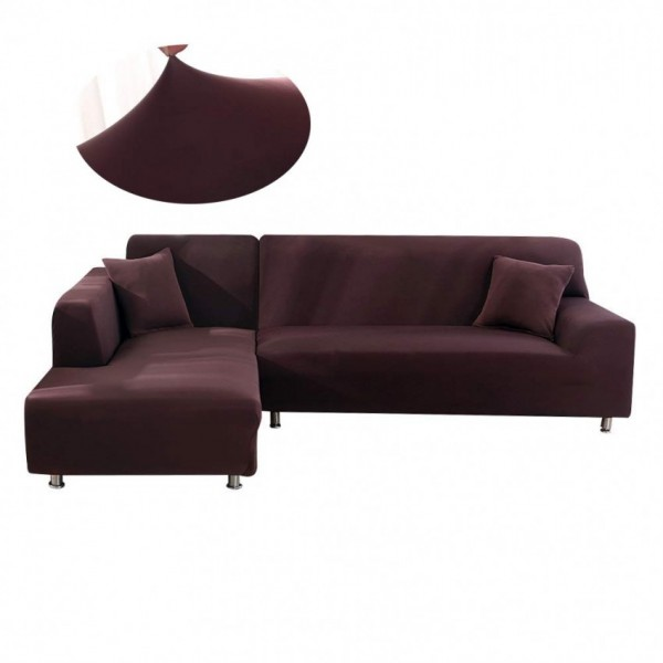 L-shape 3-3 seater Fitted Sofa Cover (Standard Size in brown color)