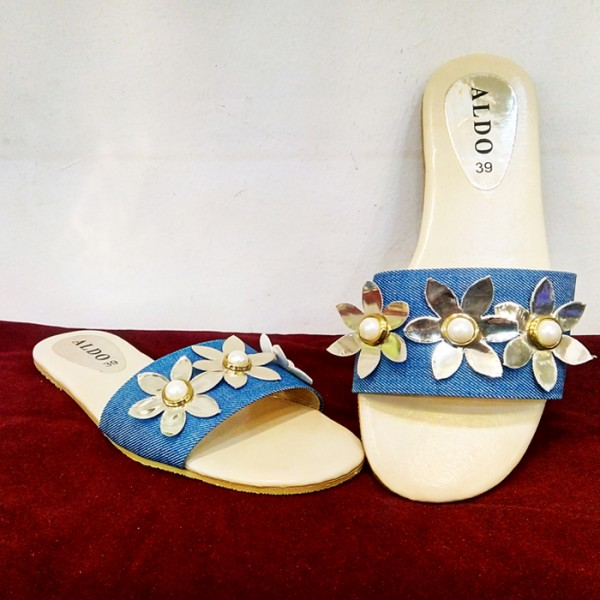 Blue Color Ladies Flat Slippers