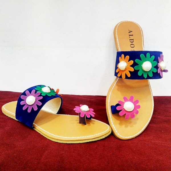Ladies Slippers in Blue color with flowers