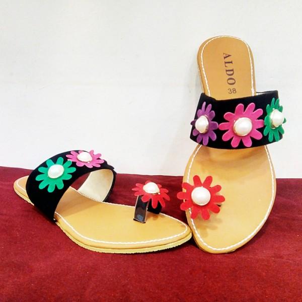 Ladies Black Floral Flat Slippers