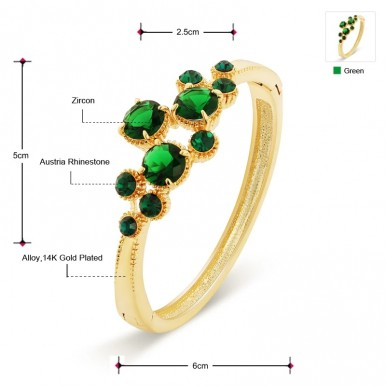 Austria Rhinestone and Zircon Exquisite Round Stones Bangle Bracelet