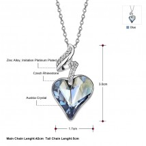 Austria Crystal and Rhinestone Long Charm Heart Style Alloy Plated Necklace Pendant