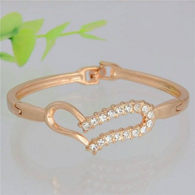 Love Heart full crystal Gold Plated Bangles Bracelet