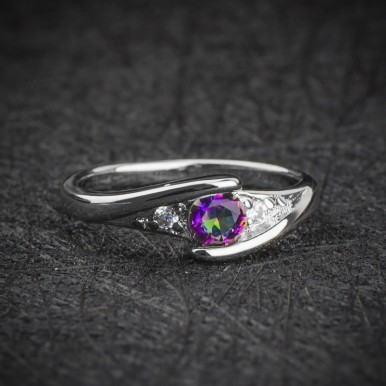 Hot Sale Colorful CZ Silver Ring