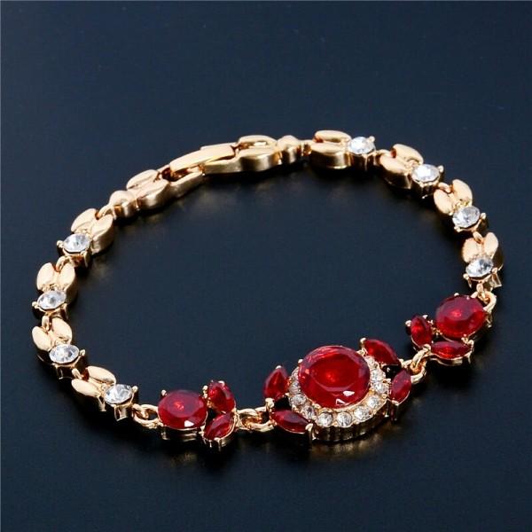 18K Gold Plated Ruby Bracelet Jewellery