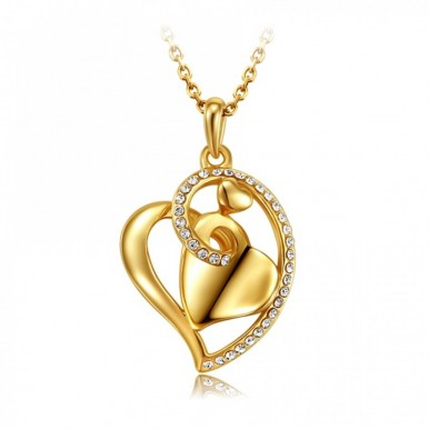 18k Gold Heart Love Crystal Pendant Eid special Gift