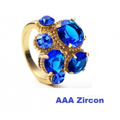 18K Rose Gold Plated Beautiful Green Zarcon Crystal Ring For Her