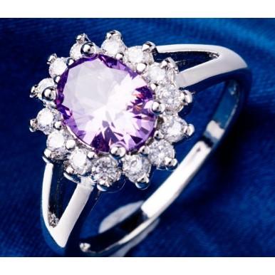 Flowers Design White Purple Crystal Rhinestone Classic Ring